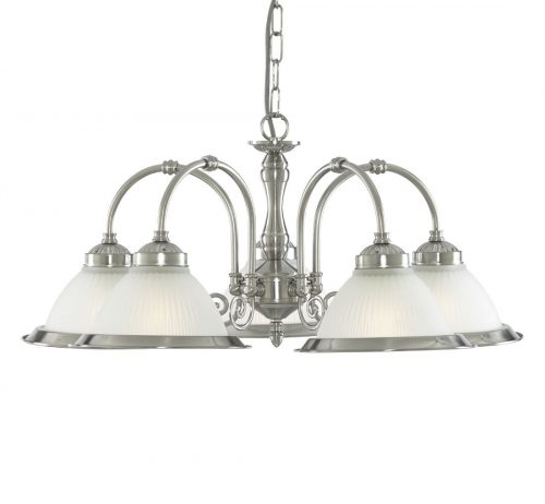 American Diner Satin Silver 5 Light Ing With Acid Ribbed